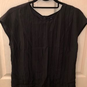 Madewell Silk Pleated Cap Sleeve Blouse Black S